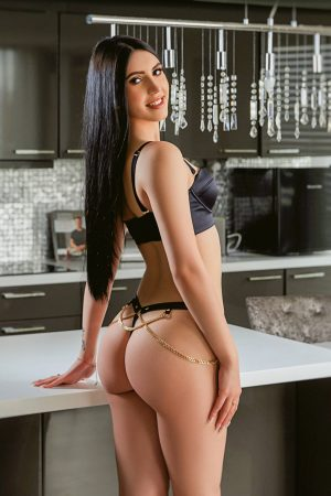 Gorgeous brunette escort Dante standing in the kitchen