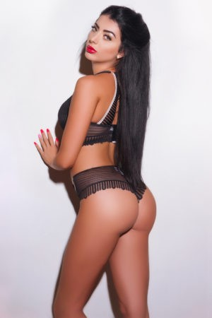 Beautiful brunette escort Wendelin is available for bookings until late
