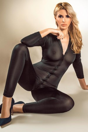 Sexy escort Annabelle in her black bodysuit
